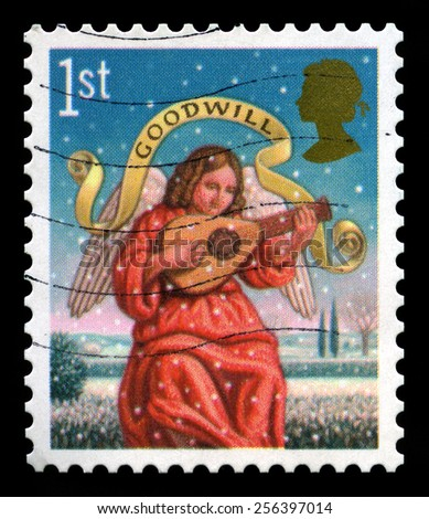 UNITED KINGDOM - CIRCA 2007: A British used postage stamp depicting a Christmas message, circa 2007. - stock photo