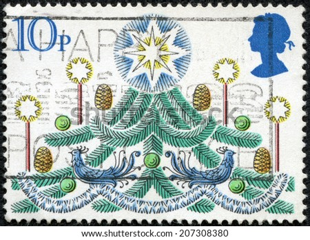 UNITED KINGDOM - CIRCA 1980: A post stamp printed in the Great Britain devoted Christmas , circa 1980 - stock photo
