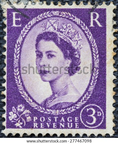 UNITED KINGDOM - CIRCA 1952: A postage stamp printed in Great Britain showing a portrait of queen Elizabeth II, circa 1952.