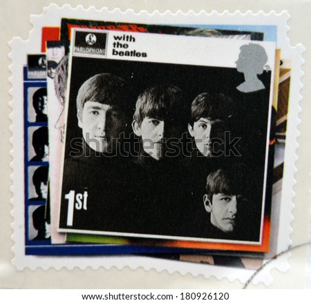 UNITED KINGDOM - CIRCA 2007: a postage stamp printed in Great Britain showing an image of The Beatles, With The Beatles album cover, circa 2007.  - stock photo