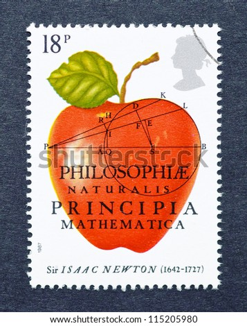 UNITED KINGDOM -Â?Â? CIRCA 1987: A postage stamp printed in United Kingdom celebrating Isaac Newton Principia and showing an image an apple for The Principia Mathematica, circa 1987. - stock photo