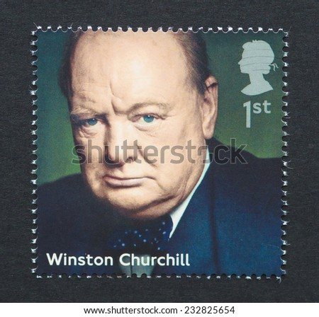 UNITED KINGDOM - CIRCA 2014: a postage stamp printed in United Kingdom showing an image of prime minister Winston Churchill, circa 2014.  - stock photo