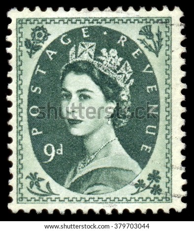 UNITED KINGDOM - CIRCA 1952: A postage stamp printed in United Kingdom shows queen Elizabeth II, circa 1952. - stock photo