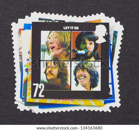 UNITED KINGDOM - CIRCA 2007: a postage stamps printed in United Kingdom showing an image of The Beatles, Let It Be album cover, circa 2007. - stock photo