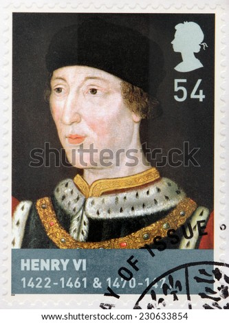 UNITED KINGDOM - CIRCA 2008: A stamp printed by GREAT BRITAIN shows Henry VI - King of England from 1422 to 1461 and again from 1470 to 1471, and disputed King of France, circa 2008 - stock photo