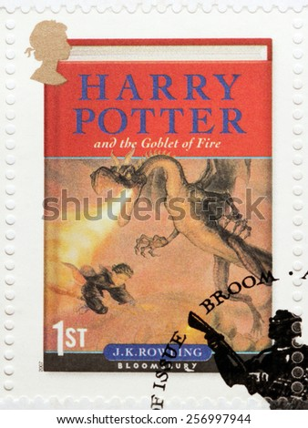UNITED KINGDOM - CIRCA 2007: A stamp printed by GREAT BRITAIN shows image of the cover of Harry Potter and the Goblet of Fire novel by Joanne (Jo) Rowling, pen names J. K. Rowling, circa 2007. - stock photo