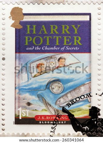 UNITED KINGDOM - CIRCA 2007: A stamp printed by GREAT BRITAIN shows image of the cover of Harry Potter and the Chamber of Secrets novel by Joanne (Jo) Rowling, pen names J. K. Rowling, circa 2007. - stock photo