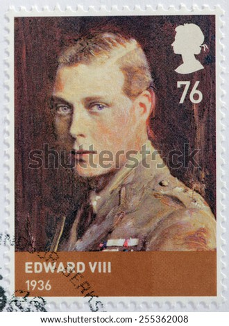 UNITED KINGDOM - CIRCA 2012: A stamp printed by GREAT BRITAIN shows image portrait of  Edward VIII - King of the United Kingdom and the British Dominions and Emperor of India, circa 2012 - stock photo