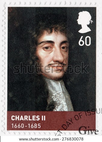 UNITED KINGDOM - CIRCA 2010: A stamp printed by GREAT BRITAIN shows image portrait of King Charles II - monarch of the three kingdoms of England, Scotland, and Ireland, circa 2010 - stock photo