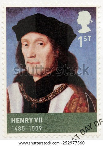 UNITED KINGDOM - CIRCA 2009: A stamp printed by GREAT BRITAIN shows image portrait of  king Henry VII of England. Henry was the first monarch of the Tudor dynasty, circa 2009 - stock photo