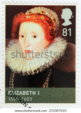 UNITED KINGDOM - CIRCA 2009: A stamp printed by GREAT BRITAIN shows image portrait of Queen Elizabeth I of England sometimes called The Virgin Queen, Gloriana or Good Queen Bess, circa 2009 - stock photo