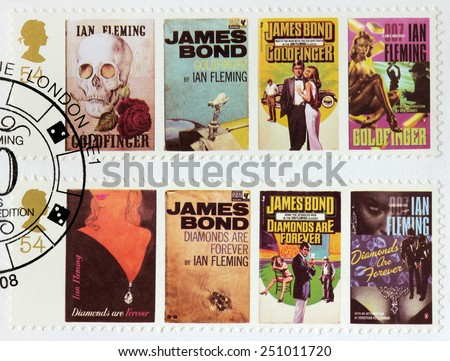 UNITED KINGDOM - CIRCA 2008: A stamp printed by GREAT BRITAIN shows images of covers of James Bond Goldfinger and Diamonds are Forever novels by Ian Fleming, circa 2008. - stock photo