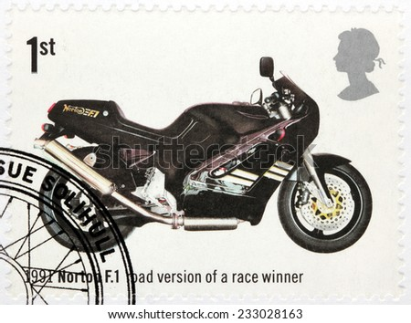 UNITED KINGDOM - CIRCA 2005: A stamp printed by GREAT BRITAIN shows motorcycle Norton F.1 - road version of a race winner 1991, circa 2005