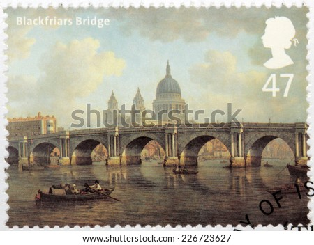 UNITED KINGDOM - CIRCA 2002: A stamp printed by GREAT BRITAIN shows painting Blackfriars Bridge and St Paul's Cathedral by William Marlow (City of London to Southwark), circa 2002