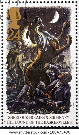 UNITED KINGDOM - CIRCA 1993: A stamp printed by GREAT BRITAIN shows Sherlock Holmes and  Sir Henry. The Hound of The Baskervilles is a crime novel written by Arthur Conan Doyle, circa 1993 - stock photo