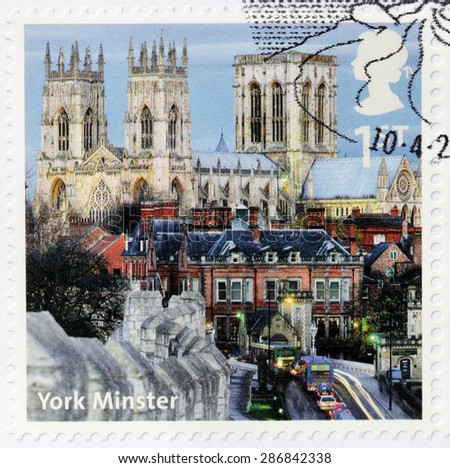 UNITED KINGDOM - CIRCA 2012: A stamp printed by GREAT BRITAIN shows view of York Minster - the Cathedral of York, England, and is one of the largest of its kind in Northern Europe, circa 2012 - stock photo