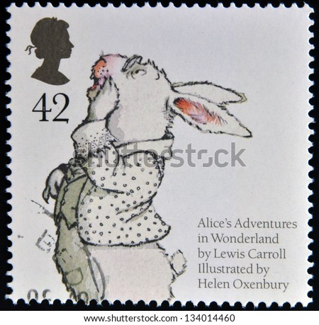 UNITED KINGDOM - CIRCA 2006: A stamp printed in Great Britain dedicated to animal tales, shows White Rabbit from Lewis Caroll's 'Alice's Adventures in Wonderland', circa 2006 - stock photo