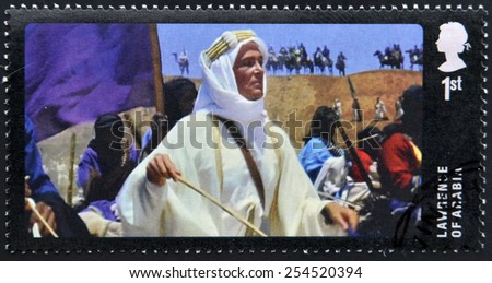 UNITED KINGDOM - CIRCA 2014: A stamp printed in Great Britain dedicated to Great British Film, shows Lawrence of Arabia, circa 2014 - stock photo