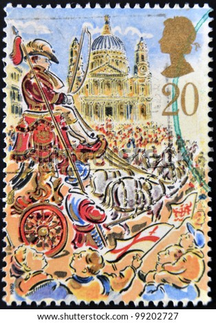 UNITED KINGDOM - CIRCA 1989: A stamp printed in Great Britain dedicated to Lord Mayor's Show, London, shows Royal Mail Coach, circa 1989