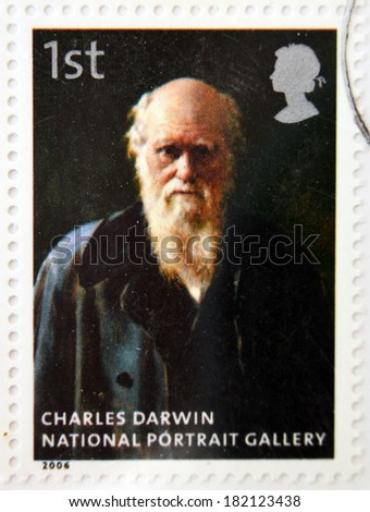 UNITED KINGDOM - CIRCA 2006: A stamp printed in Great Britain dedicated to the national portrait gallery, shows Charles Darwin by John Collier, circa 2006 - stock photo