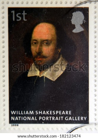UNITED KINGDOM - CIRCA 2006: A stamp printed in Great Britain dedicated to the national portrait gallery, shows William Shakespeare attributed to John Taylor, circa 2006 - stock photo