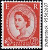 UNITED KINGDOM - CIRCA 1952: A  stamp printed in Great Britain showing a portrait of queen Elizabeth II, circa 1952. - stock photo
