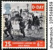UNITED KINGDOM - CIRCA 1994: a stamp printed in Great Britain shows image of soldiers on Gold Beach in Normandy, commemorating D-Day, circa 1994 - stock photo