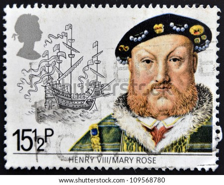 UNITED KINGDOM - CIRCA 1982: A stamp printed in Great Britain shows King Henry VIII and the Mary Rose, circa 1982 - stock photo
