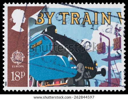UNITED KINGDOM - CIRCA 1988: A stamp printed in Great Britain shows Mallard and Mailbags on Pick-up Arms, circa 1988