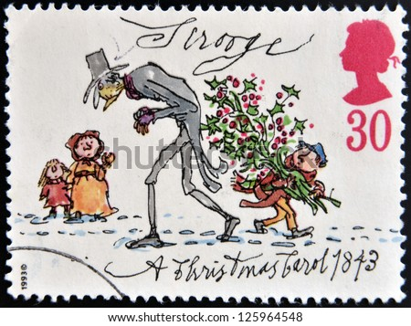 UNITED KINGDOM - CIRCA 1993: A stamp printed in Great Britain shows Scrooge from Christmas, circa 1993 - stock photo
