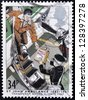 UNITED KINGDOM - CIRCA 1987: a stamp printed in the Great Britain shows St. John Ambulance,transplant organ flights, circa 1987 - stock photo