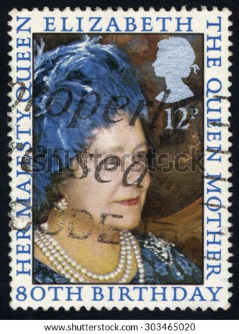 UNITED KINGDOM - CIRCA 1980: A stamp printed in the United Kingdom celebrating 80th Birthday of Queen Mother, circa 1980 - stock photo