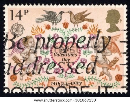 UNITED KINGDOM - CIRCA 1995: A stamp printed in the United Kingdom shows image of Saint Valentines Day, Folklore, 14th February, circa 1995 - stock photo