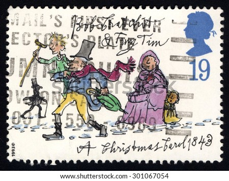 UNITED KINGDOM - CIRCA 1993: A stamp printed in the United Kingdom shows image of the dedicated to the Christmas, circa 1993 - stock photo
