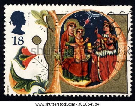 UNITED KINGDOM - CIRCA 1991: A stamp printed in the United Kingdom shows The Adoration of the Magi, Manuscript in Bodleian Library, Oxford, circa 1991  - stock photo