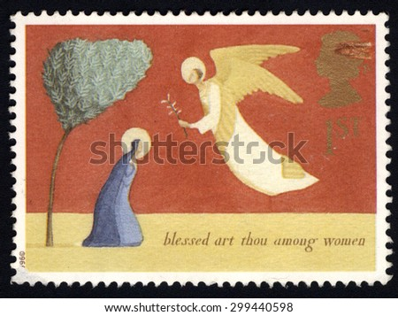 UNITED KINGDOM - CIRCA 1996: A stamp printed in the United Kingdom shows The Annunciation, circa 1996.  - stock photo