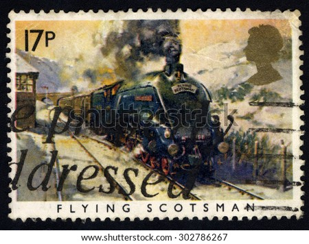 UNITED KINGDOM - CIRCA 1985: A stamp printed in the United Kingdom shows The Flying Scotsman Train, circa 1985