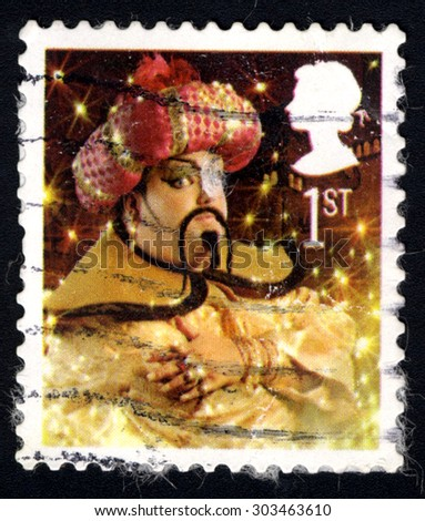 UNITED KINGDOM - CIRCA 2008: A stamp printed in the United Kingdom shows the Genie from the Pantomine Aladdin, circa 2008 - stock photo