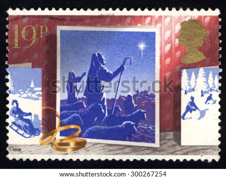 UNITED KINGDOM - CIRCA 1988: A stamp printed in the United Kingdom shows The Shepherds and Star, circa 1988.  - stock photo