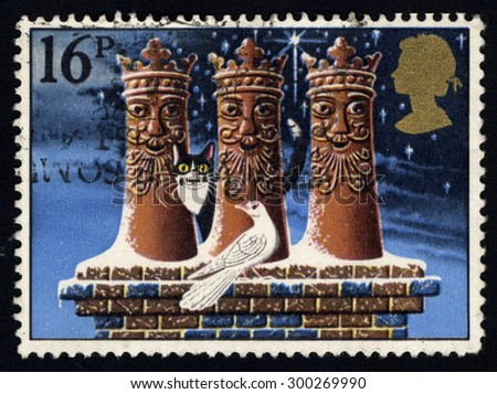 UNITED KINGDOM - CIRCA 1983: A stamp printed in the United Kingdom shows The Three Kings (chimney-pots) , circa 1983.  - stock photo