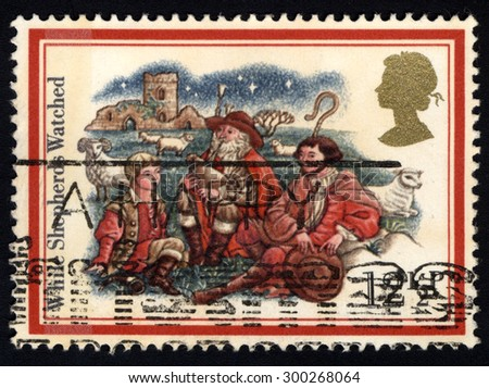 UNITED KINGDOM - CIRCA 1982: A stamp printed in the United Kingdom shows The While Shepherds Watched, circa 1982.  - stock photo