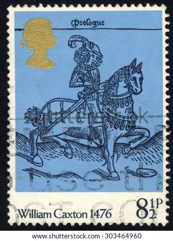 UNITED KINGDOM - CIRCA 1976: A stamp printed in the United Kingdom shows William Caxton 1476, Squire, from Canterbury Tales, circa 1976