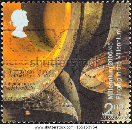 "UNITED KINGDOM - CIRCA 2000: A stamp printed in United Kingdom from the ""Millennium Projects (12th series). Sound and Vision"" issue shows Church Bells (Ringing in the Millennium), circa 2000.  - stock photo"