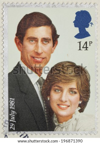 """UNITED KINGDOM - CIRCA 1981: A stamp printed in United Kingdom from the """"Royal Wedding """" issue shows Prince Charles and Lady Diana Spencer, circa 1981 - stock photo"""