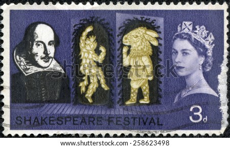 "UNITED KINGDOM - CIRCA 1964: A stamp printed in United Kingdom from the ""Shakespeare Festival "" issue shows Puck and Bottom (A Midsummer Night's Dream), circa 1964."