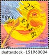 "UNITED KINGDOM - CIRCA 2001: A stamp printed in United Kingdom from ""the weather"" issue shows Fair weather, circa 2001.  - stock photo"