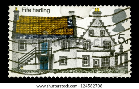 "UNITED KINGDOM - CIRCA 1969: A stamp printed in United Kingdom shows a Fife Harling House, with the same inscriptions, from the series ""British Rural Architecture"", circa 1969"