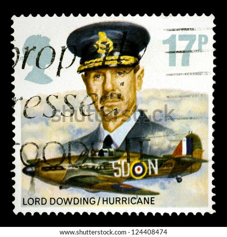 "UNITED KINGDOM - CIRCA 1986: A stamp printed in United Kingdom shows a Lord Dowding and Hurricane with the same inscriptions, from the series ""Royal Air Force Commanders and Aircraft"", circa 1986"