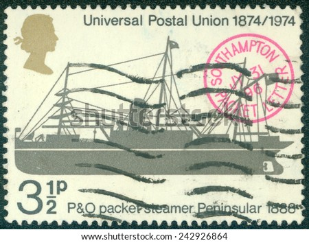 "UNITED KINGDOM - CIRCA 1974: A stamp printed in United Kingdom shows a P&O Packet steamer Peninsular, 1888, with inscriptions and name of series ""Centenary of Universal Postal Union"", circa 1974 - stock photo"