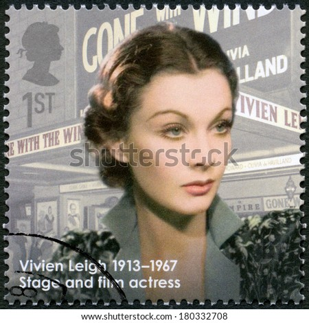 UNITED KINGDOM - CIRCA 2013: A stamp printed in United Kingdom shows actress Vivien Leigh (1913-1967), actress, series Great Britons, circa 2013 - stock photo